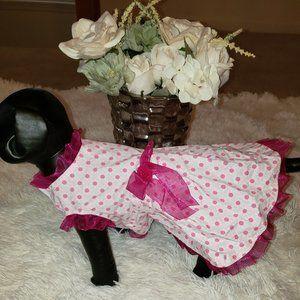 Pink & White Polka Dot Dress (Small Dog)